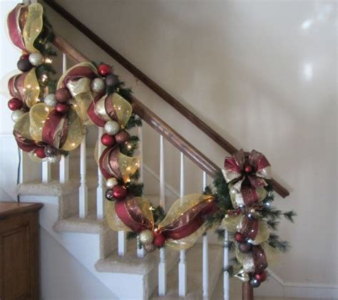 lighted garland for staircase christmas stairway garland post swag shipping included