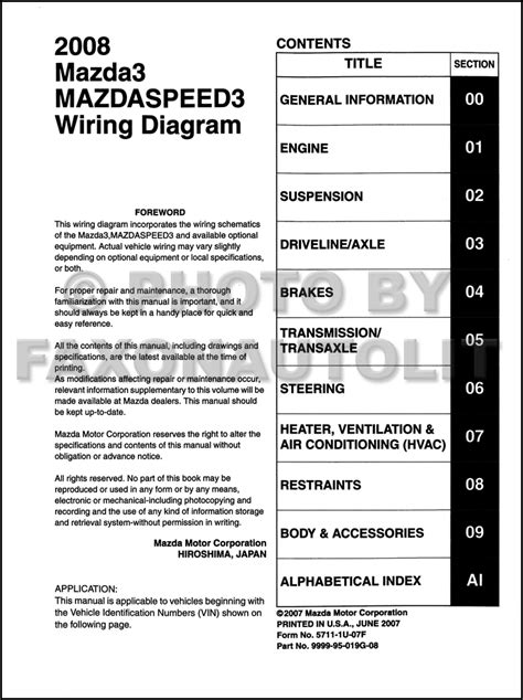 2008 mazda 3 wiring diagram original