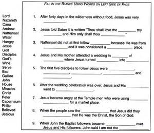 Blank Fill in the Bible Worksheets