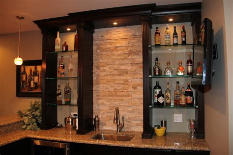 Bar Shelf Ideas by Pretty Floating Glass Shelves Fashion Chicago Transitional