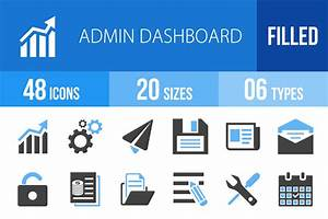 48 Admin Dashboard Blue&Black Icons ~ Icons on Creative Market