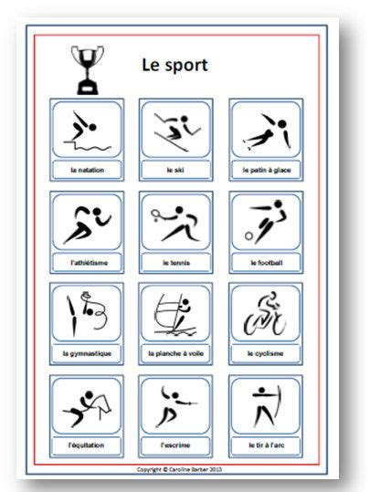 french sports great for teaching kids french sports french vocabulary