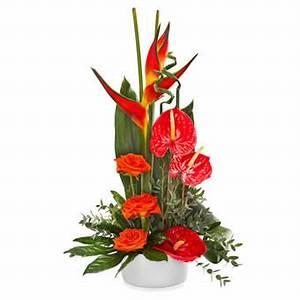 composition florale rouge avec des fleurs exotiques With affiche chambre bébé avec composition fleurs exotiques