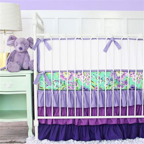Caden Baby Bedding by Purple Floral Crib Bedding Transitional Baby