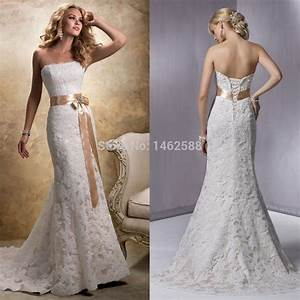 mermaid style strapless champagne satin sashes lace With lace champagne wedding dress