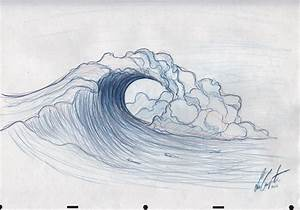 Drawn wave tidal wave - Pencil and in color drawn wave ...