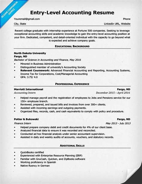entry level accounting resume  accountant resume