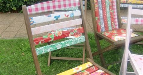 use kitsch kitchen oilcloth to cheer up your wooden outdoor chairs www kitschkitchen nl