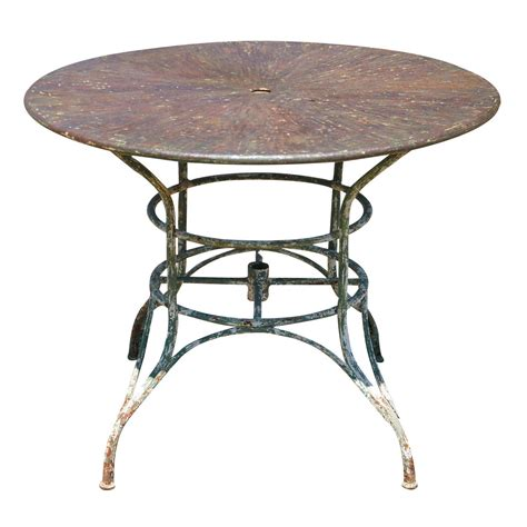round metal outdoor table umbrella round metal garden table at 1stdibs