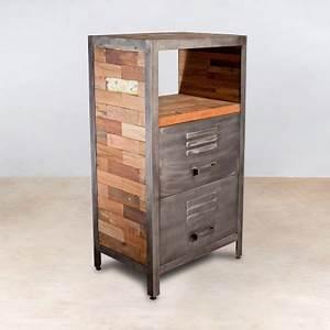 Petit Meuble Metal : meuble 1 niche en bois recycl s 2 tiroirs m tal industryal ~ Teatrodelosmanantiales.com Idées de Décoration