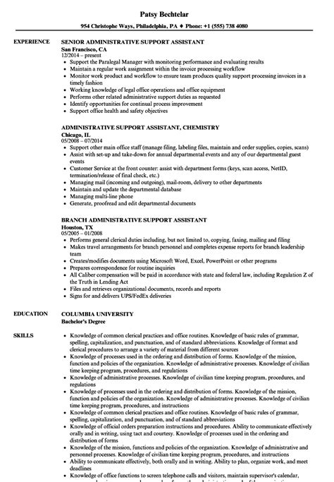 Support Assistant Resume by Administrative Support Assistant Resume Sles Velvet