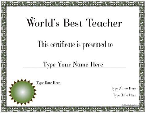 education certificates  teacher   world award certificatestreetcom
