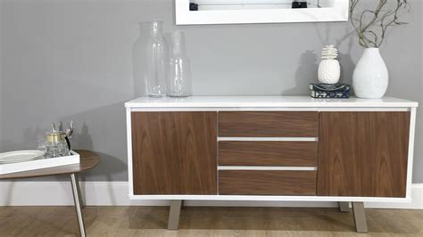 White And Walnut Sideboard by White Gloss And Walnut Sideboard Danetti