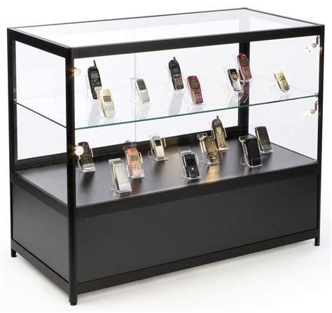 illuminated glass merchandise counter locking storage