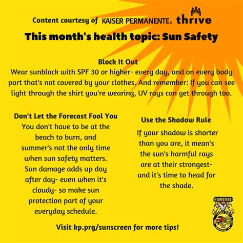 Health Topic of the Month: Sun Safety – Teamsters Local 315