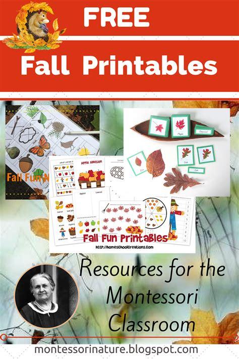 fall autumn preschool printables montessori nature