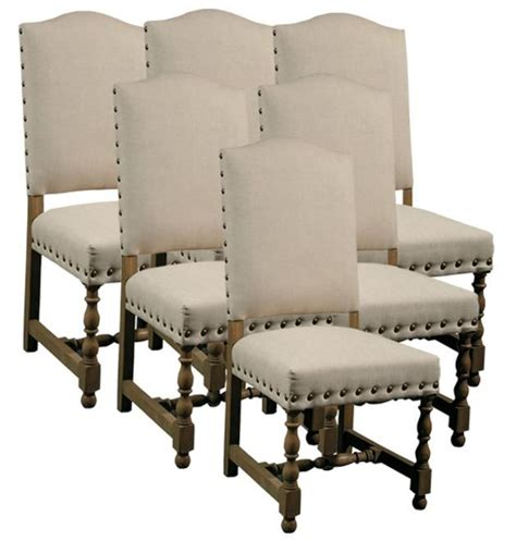 Upholstered Dining Chairs With Nailheads by 6 New Dining Chairs Style Wood Frame Linen