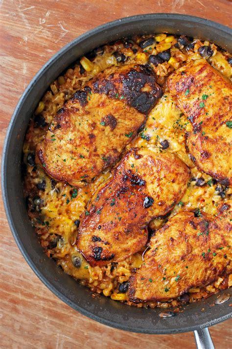 mexican chicken cauliflower rice skillet emily bites