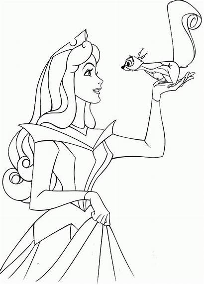 Coloring Aurora Princess Disney Anastasia Squirrel Pony