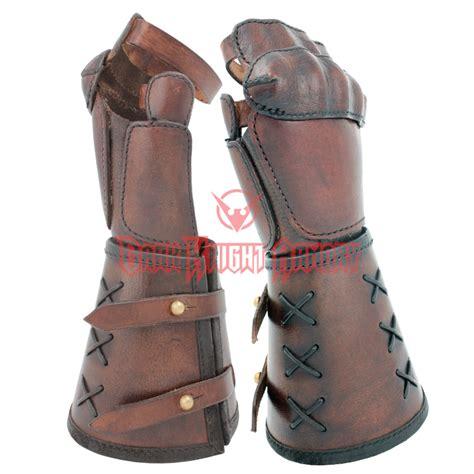 leather gauntlet medieval gloves gauntlets knight bracers renaissance armor glove hand brown armour single arm gothic dark larp armoury 2742