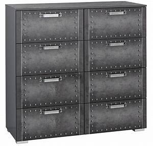 Commode 8 Tiroirs : commode 8 tiroirs style industriel graphite work ~ Teatrodelosmanantiales.com Idées de Décoration