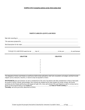 nc quitclaim deed fill  printable fillable