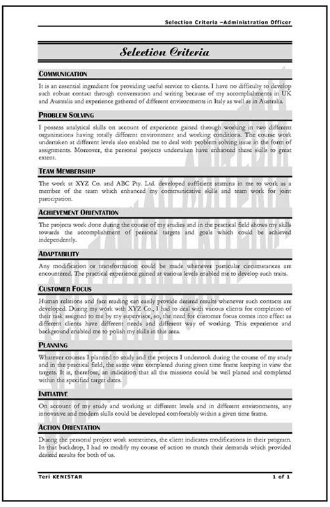 Government Resumes Selection Criteria by My Resume Resume Support Based In Sydney Australia Low Cost Fast Professional