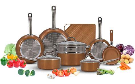 luxury copper cookware pots  pans set   stick griddle  piece kitchen induction