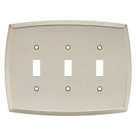 brushed nickel light switch liberty mandara decorative triple switch plate brushed
