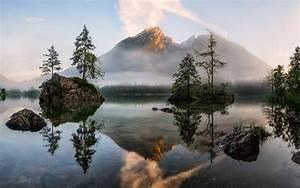 nature, , landscape, , lake, , sunrise, , mist, , forest, , trees