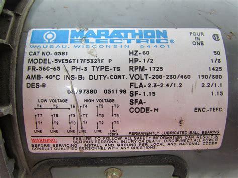 Marathon 2hp Electric Motor Wiring Diagram by Marathon Electric G581 1 2 Hp Motor 3ph Multivolt 1725rpm