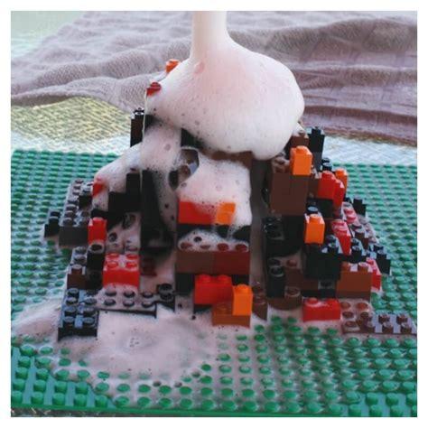 lego volcano science build  lego volcano baking soda