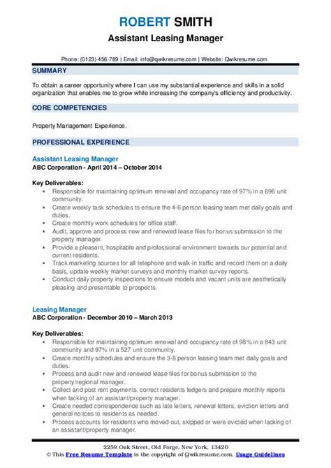 Leasing Resume Templates by Leasing Manager Resume Sles Qwikresume