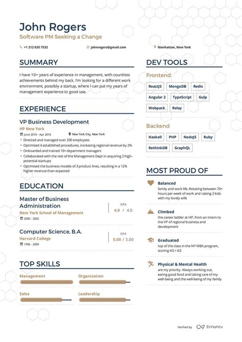 Resumés by Exles Of Resumes By Enhancv Sle Resume S Resume