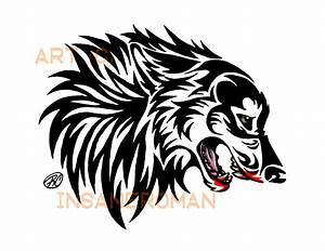 Tribal Wolf Head Tattoo | Simple Tribal Wolf Head Snarling ...