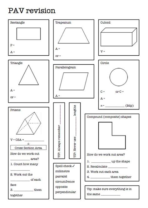 two worksheets to review perimeter area and volume at the