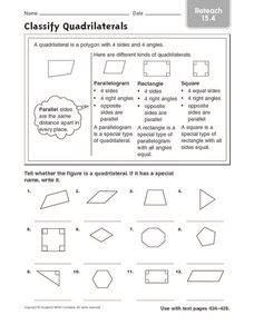classify quadrilaterals reteach  worksheet