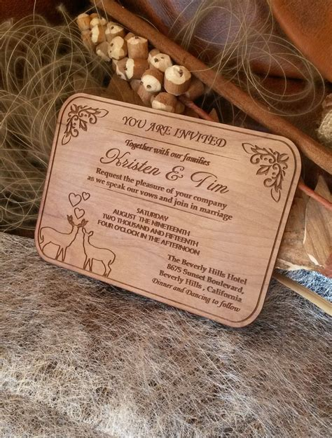 50 engraved personalized wooden invitations laser cut