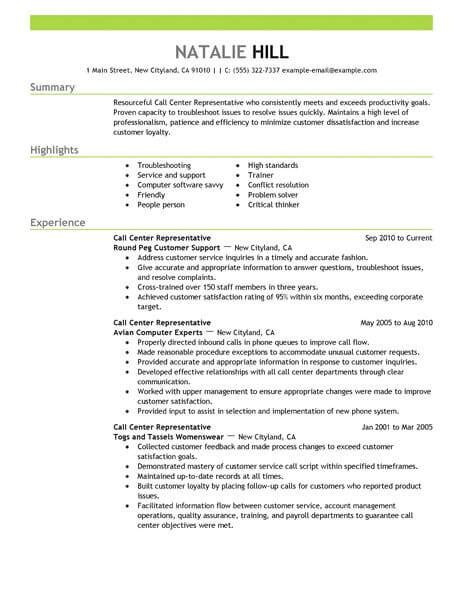 simple call center representative resume  livecareer