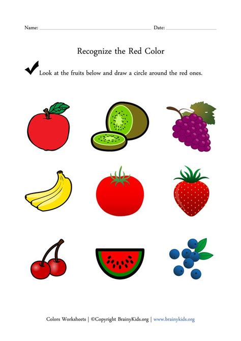recognize the color fruits worksheet for early