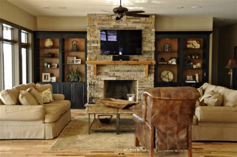 Furniture. The Built In Shelving Around Fireplace To Give