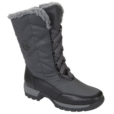 totes womens winter boot rhonda silver gray