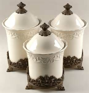 Cheap Kitchen Canister Sets Canister Sets 3pc Canister Set W 3 Metal Stands White Alabaster Cottage