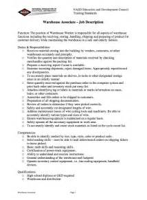 Warehouse Manager Duties For Resume by Warehouse Associate Description Resume Resumes Design