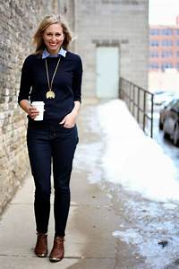 Dark sweater and jeans pop of color with a collar pendant necklace brown ankle boots | Get On ...