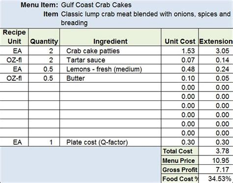 menu recipe cost spreadsheet template