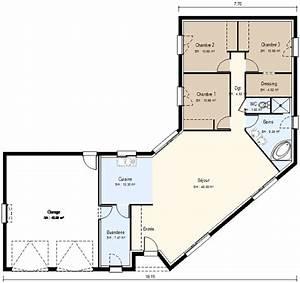 plan maison plain pied en u de ossature bois projet e pour With plan maison en u ouvert