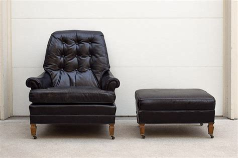 sale mid century black leather tufted club chair and ottoman