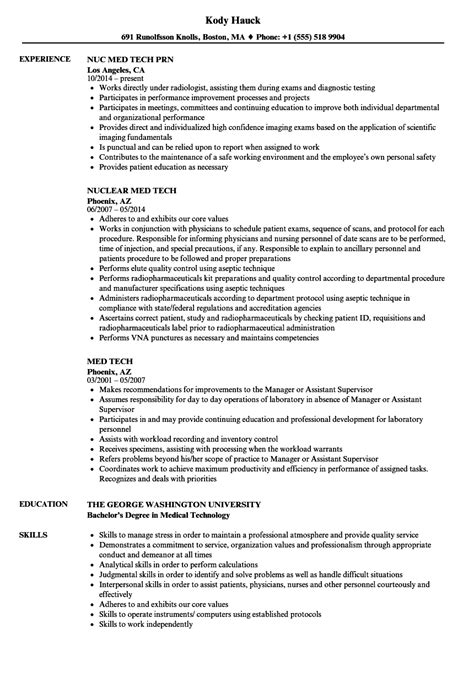 Tech Resume by Med Tech Resume Sles Velvet
