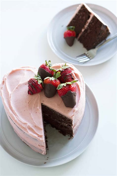 heart shaped chocolate strawberry cake girl  dough